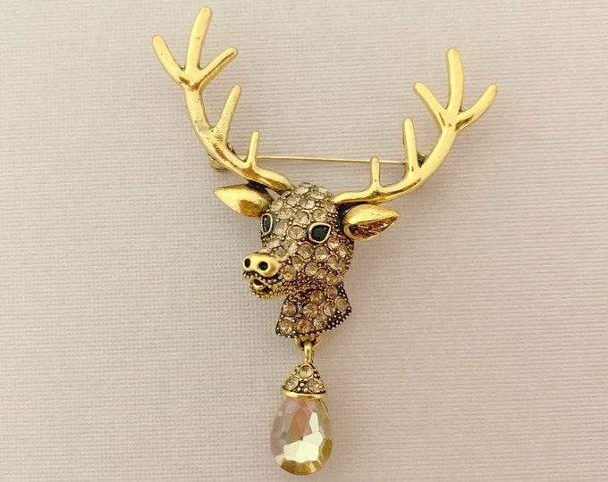Brown Reindeer Brooch Pin