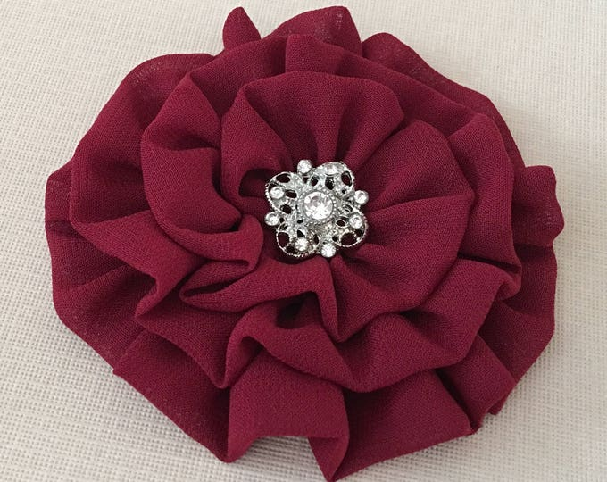 Burgundy Flower Brooch Pin and or Hair Clip. Choose button finish.