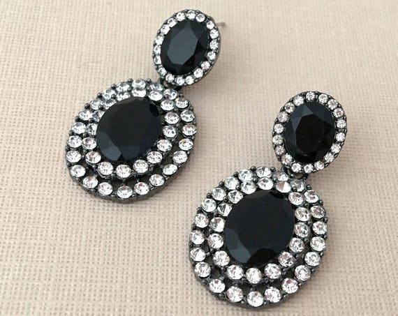 Black Rhinestone & Crystal Earrings. SLIGHT SECONDS*