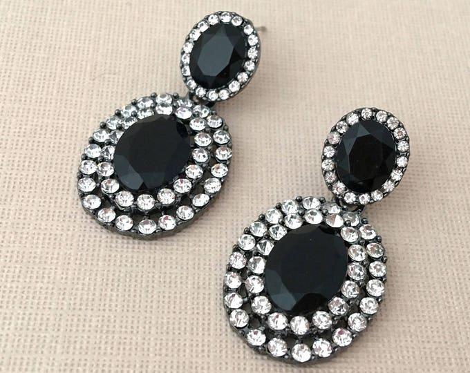 Black Rhinestone & Crystal Earrings. SLIGHT SECONDS JEWLERY*