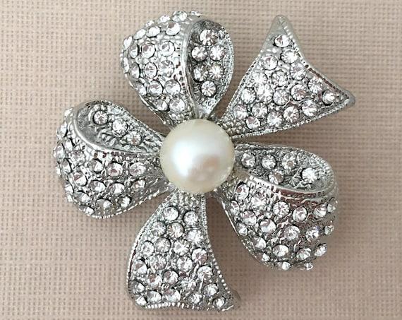 Pearl & Rhinestone Bow Brooch Pin
