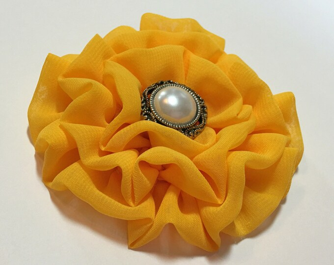 Golden Yellow Flower Brooch Pin and/or Hair Clip. Choose button/bead finish. Handmade.