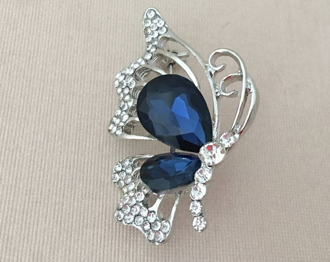 Navy Butterfly Brooch.Butterfly Brooch.Rhinestone Butterfly Brooch.Crystal.Pin.Wedding.Bridal.Bride.Silver.Broach.Blue Rhinestone.Navy Blue