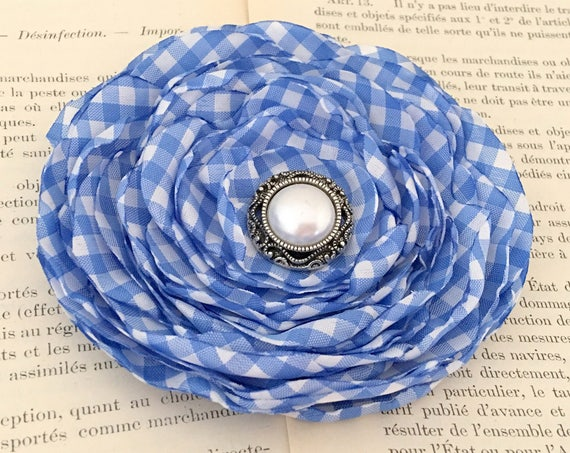 Cornflower Blue Gingham Flower Hair Clip and/or Brooch Pin. LAST ONE. Choose your button/bead finish.