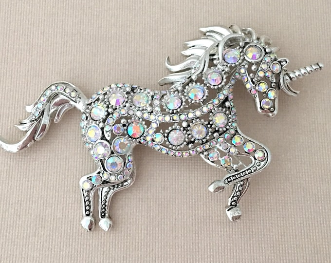 Unicorn Rhinestone Brooch Pin and/or Pendant