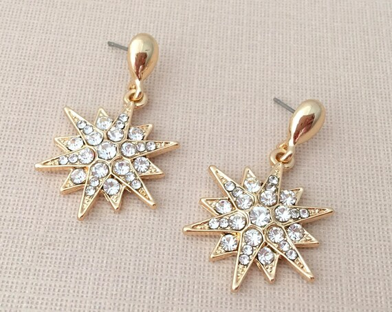Rhinestone & Gold Starburst Earrings