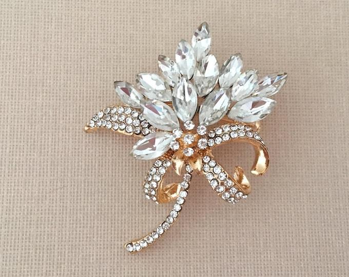 Rhinestone & Gold Flower Brooch Pin