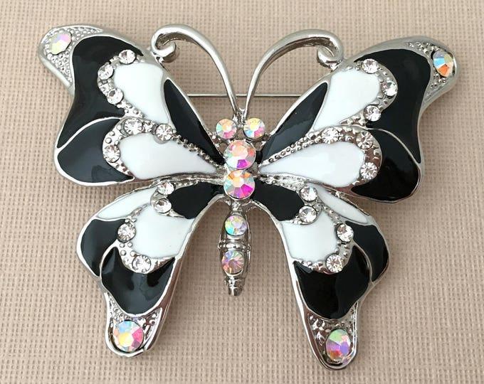 Black White Enamel Butterfly Brooch Pin