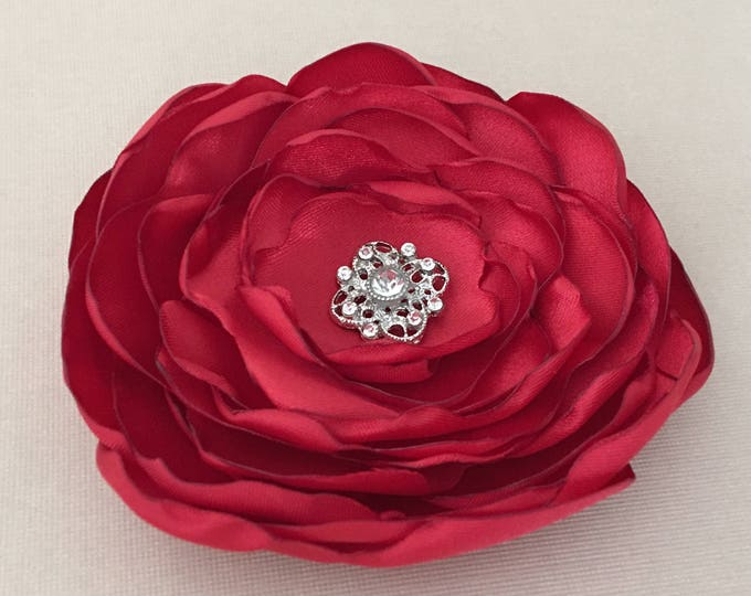 Red Satin Fabric Flower Brooch Pin or Hair Clip. Choose your size and button/bead finish. Handmade.