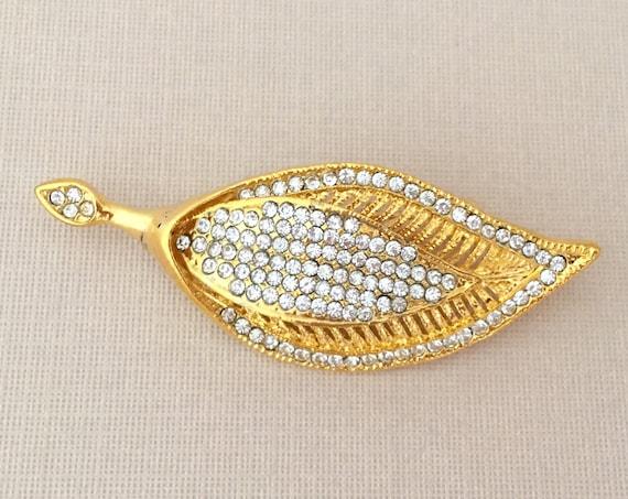 Gold Leaf Rhinestone Brooch Pin