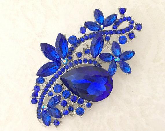 Royal Blue & Platinum Crystal Brooch Pin