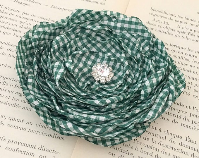 Hunter Green & White Gingham Hair Clip or Brooch pin. Choose your size and button/bead finish. Handmade.