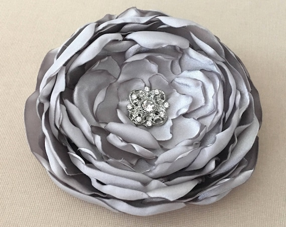 Light Gray Satin Flower Hair Clip or Brooch Pin. Choose your size and button/bead finish. Handmade.