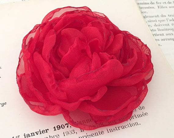 Red Peony Fabric Flower Hair Clip or Brooch Pin. Choose your size and backing. Handmade.