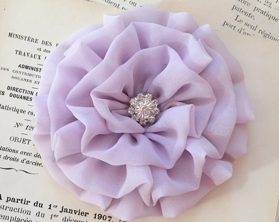 Lavender Chiffon Flower Hair Clip and/or Brooch Pin. Choose your button/bead finish. Handmade.