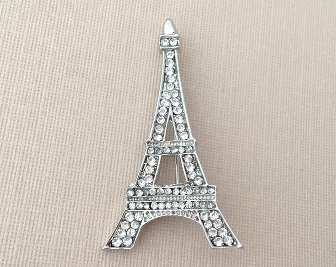 Platinum Eiffel Tower Rhinestone Brooch Pin