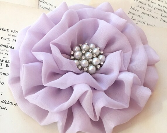 "Lavender Fabric Flower Brooch/Pin.READY TO SHIP. 3.75"" Size."