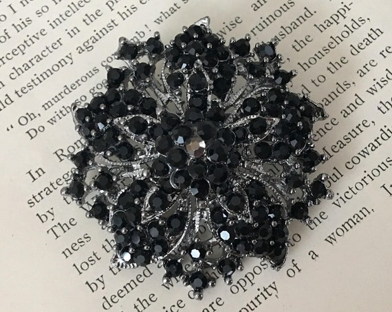 Black Rhinestone Brooch Pin