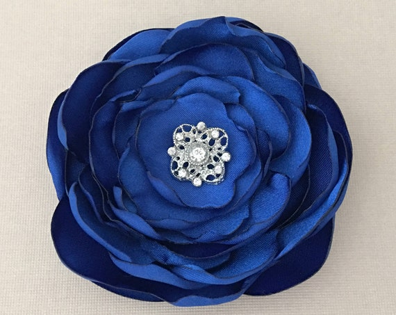 Royal Blue Fabric Flower Hair Clip or Brooch Pin. Choose your size and button/bead finish. Handmade.
