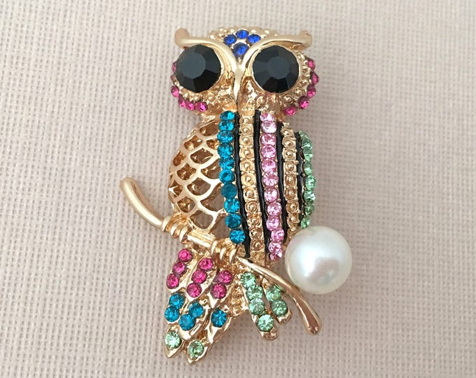 Mixed Color Owl Brooch Pin
