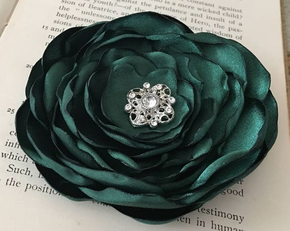 Hunter Green Satin Flower Brooch Pin or Hair Clip. Choose your size and button/bead finish. Handmade.