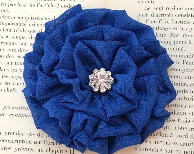 Royal Blue Fabric Flower Brooch Pin and/or Hair Clip. Choose your button/bead finish. Handmade.