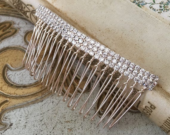 Gold Rhinestone Hair Comb.Gold Bridal Hair Piece.Gold Hair Comb.Gold Crystal Hair Comb.Wedding headpiece.Art Deco Style.Vintage Style