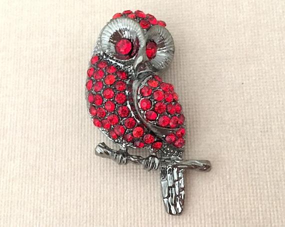 Red Rhinestone Owl Brooch Pin