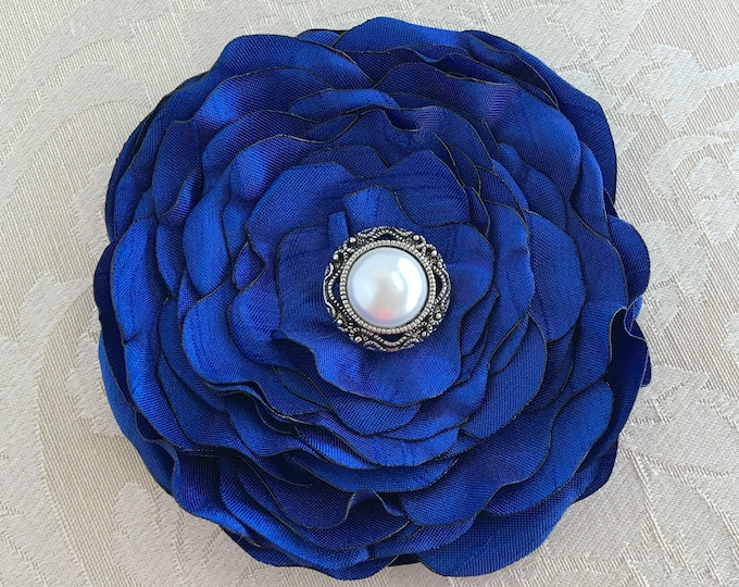 Royal Blue Fabric Flower Hair Clip or Brooch Pin. Choose button/bead finish. Handmade.