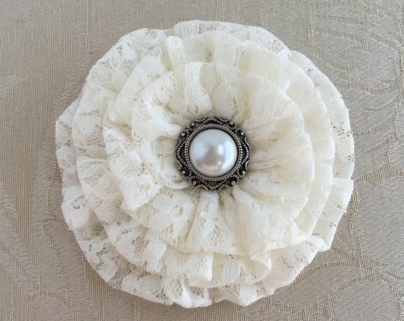 Ivory Lace Fabric Flower Hair Clip and/or Brooch Pin. Choose button or bead finish. Handmade.