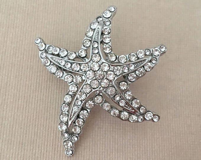 Silver & Rhinestone Starfish Brooch Pin