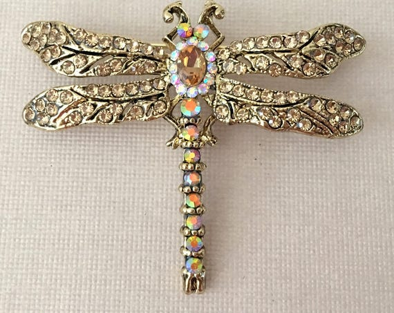 Champagne Color Dragonfly Pin (Brooch)