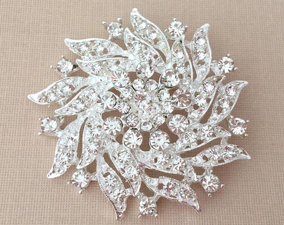 Silver & Rhinestone Flower Brooch Pin