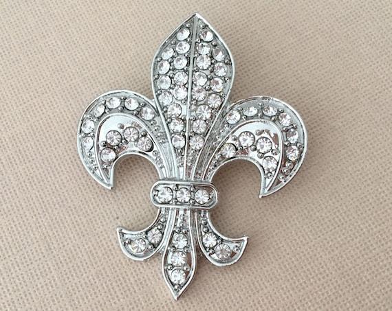 Fleur de Lis Rhinestone Brooch Pin & Pendant