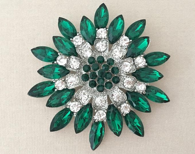 Emerald Green & Platinum Rhinestone Brooch Pin