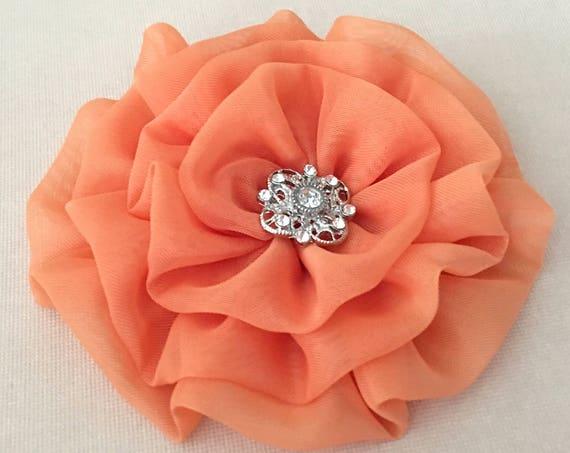 Cantaloupe Flower Hair Clip.Cantaloupe Orange Flower Brooch.CHOOSE BUTTON.Cantaloupe Flower Pin.Light Orange Flower.Handmade Chiffon Flower
