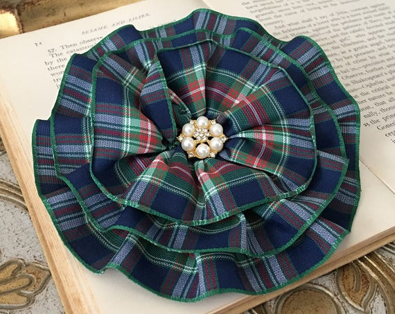 Navy & Red Tartan Brooch Pin and Hair Clip