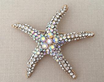 AB Starfish Brooch.AB Starfish Pin.Wedding Brooch.Gold Starfish Brooch.Star fish broach.beach wedding.crystal.rhinestone.bridal accessory