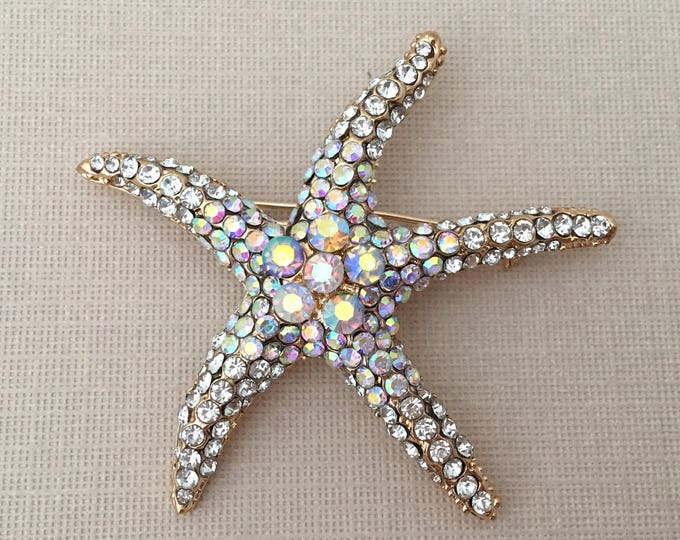 Aurora Borealis Starfish Brooch Pin