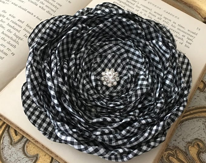 Black & White Gingham Hair Clip or Brooch Pin. Choose your size and button/bead finish. Handmade.