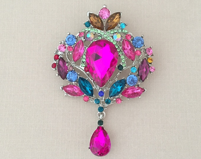Large Colorful & Platinum Rhinestone Brooch Pin