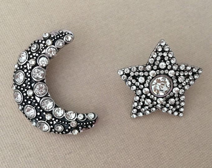 Silver Moon & Star Rhinestone Earrings