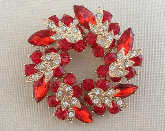 Gold & Red Rhinestone Wreath Brooch Pin. SLIGHT SECONDS ITEM*