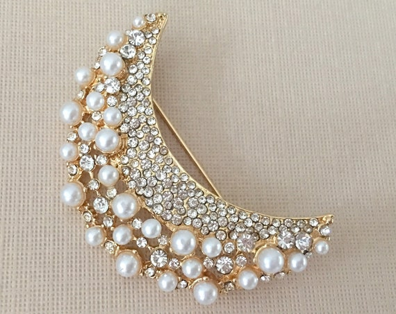 Gold Moon Rhinestone & Pearl Brooch Pin