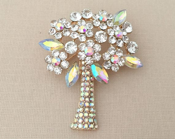 Aurora Borealis Tree Brooch Pin