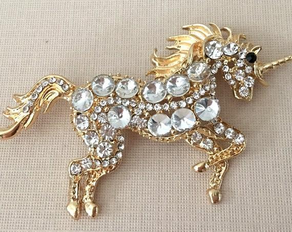 Rhinestone Unicorn Brooch Pin