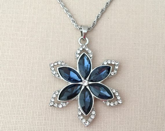 Blue & Silver Snowflake Necklace