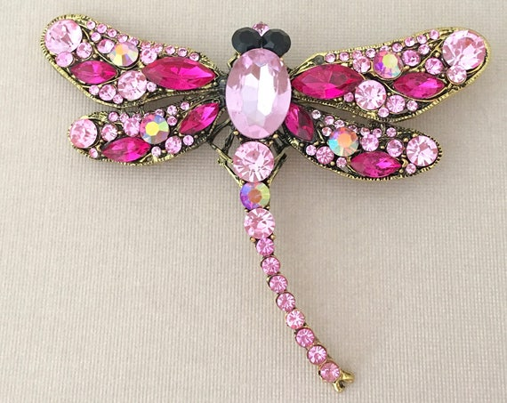 Hot Pink Dragonfly Rhinestone Brooch Pin