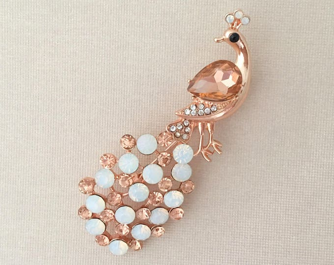 Rose Gold Rhinestone Peacock Brooch