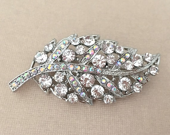 Rhinestone & Platinum Leaf Brooch Pin
